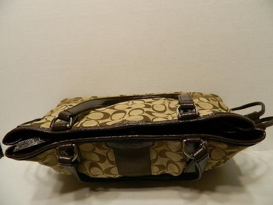 Coach New Large Satchel Coachella Tote in Khaki- Brown- Mahogany- Gold Image 10