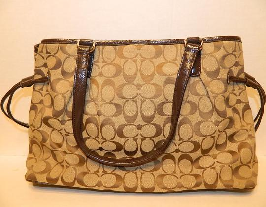 Coach New Large Satchel Coachella Tote in Khaki- Brown- Mahogany- Gold Image 11