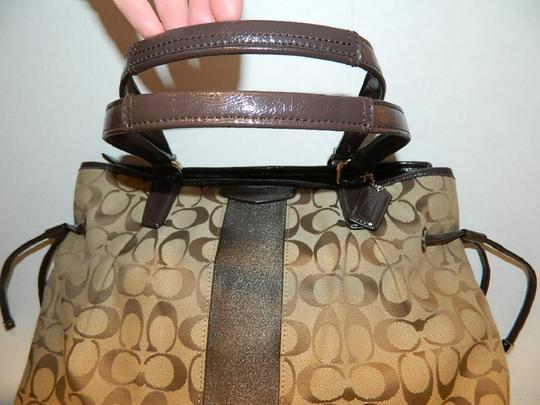 Coach New Large Satchel Coachella Tote in Khaki- Brown- Mahogany- Gold Image 2