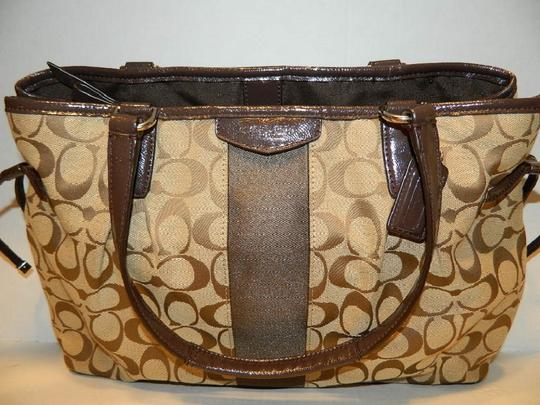 Coach New Large Satchel Coachella Tote in Khaki- Brown- Mahogany- Gold Image 3