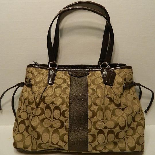 Coach New Large Satchel Coachella Tote in Khaki- Brown- Mahogany- Gold Image 7