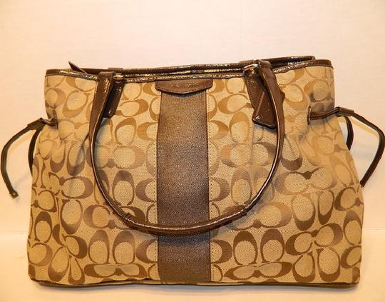 Coach New Large Satchel Coachella Tote in Khaki- Brown- Mahogany- Gold Image 9