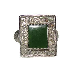 Alberto Juan Women's Antique Chinese Inspired Sterling Silver and Jade Ring
