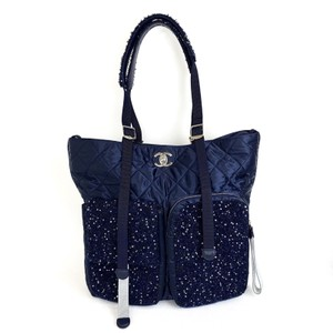 Chanel Shopping Fantasy Tweed Cc Quilted Runway Tote in NAVY BLUE