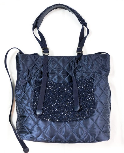 Chanel Shopping Fantasy Tweed Cc Quilted Runway Tote in NAVY BLUE Image 3