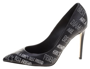 Le Silla Crystal Embellished Leather Pointed Toe Black Pumps