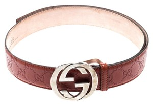 Gucci Copper Guccissima Leather Interlocking GG Buckle Belt 100CM
