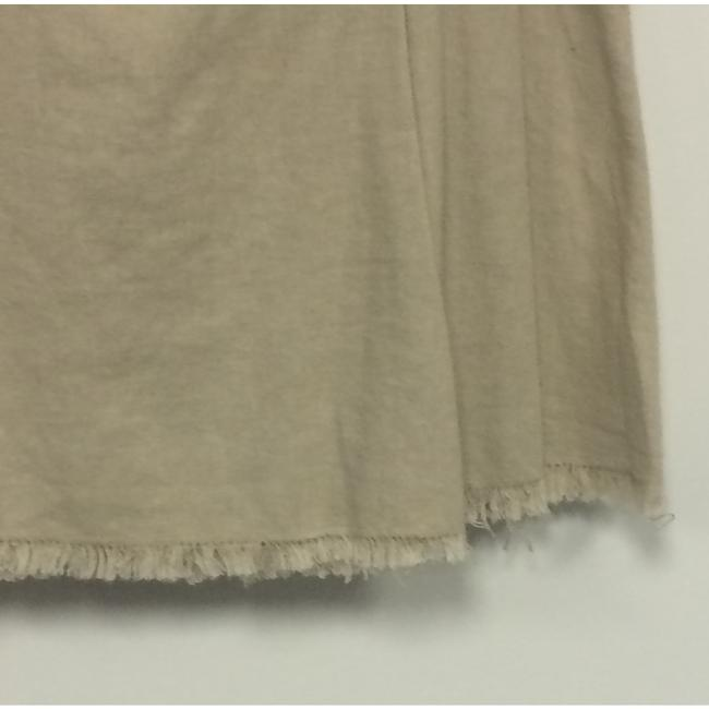Exquz Boho Bohemian Raw Edge Linen Mini Skirt Beige Image 2