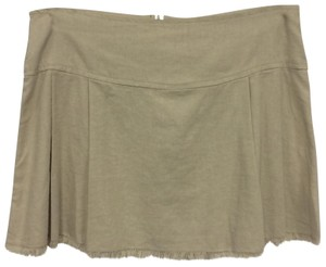 Exquz Boho Bohemian Raw Edge Linen Mini Skirt Beige