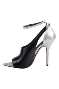 Alexander Wang Metallic Textured Leather Ankle Black Sandals