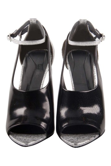 Alexander Wang Metallic Textured Leather Ankle Black Sandals Image 1