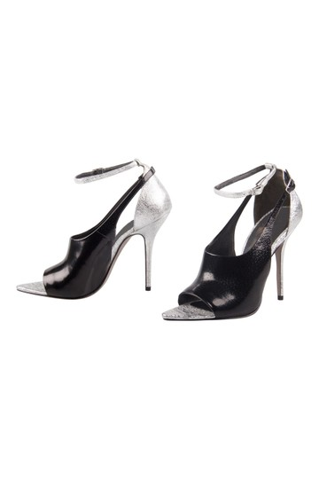 Alexander Wang Metallic Textured Leather Ankle Black Sandals Image 3