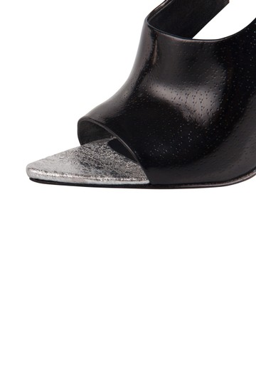 Alexander Wang Metallic Textured Leather Ankle Black Sandals Image 5