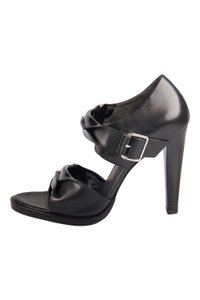 Alexander Wang Patent Leather Open Toe Black Sandals