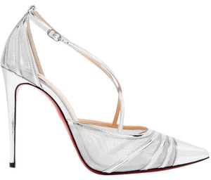Christian Louboutin Theodorella Black Mesh Leather silver Pumps