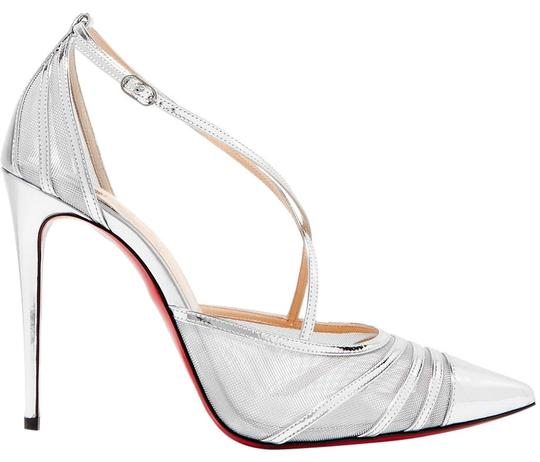 Christian Louboutin Theodorella Black Mesh Leather silver Pumps Image 0