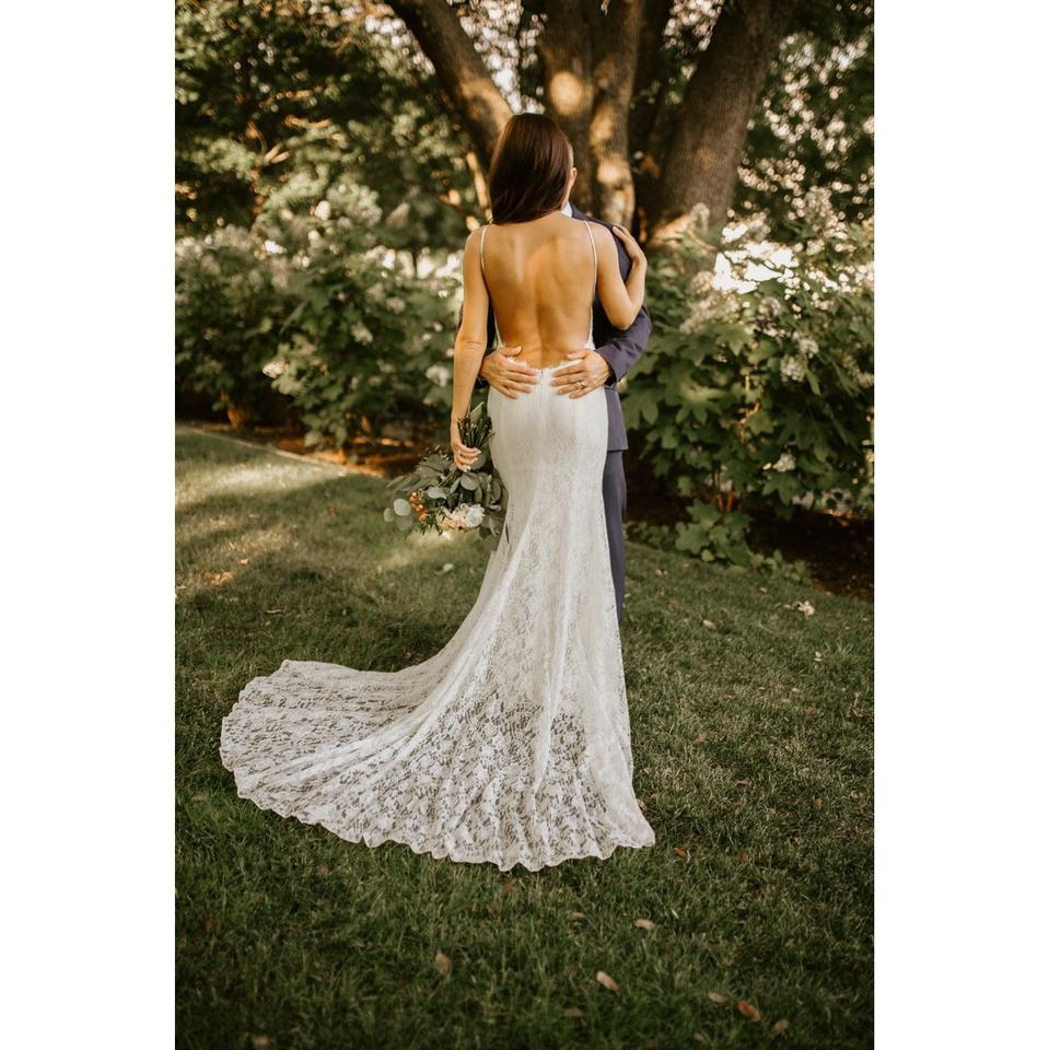 Galina White Lace With Low Back Sexy Wedding Dress Size 4 S 28 Off Retail