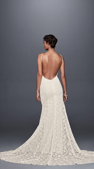 Galina White Lace with Low Back Sexy Wedding Dress Size 4 (S) Image 3
