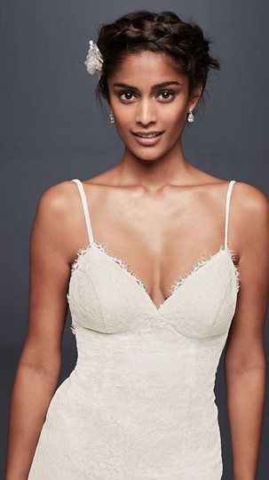 Galina White Lace with Low Back Sexy Wedding Dress Size 4 (S) Image 4