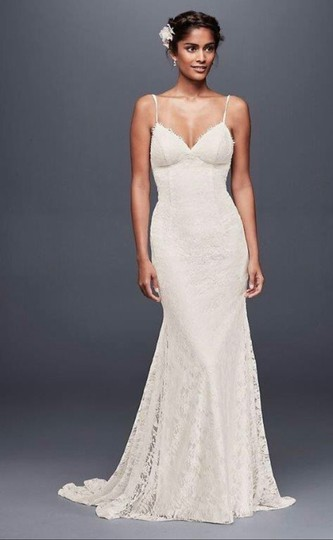 Galina White Lace with Low Back Sexy Wedding Dress Size 4 (S) Image 5