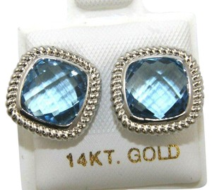 Other Cushion Cut Blue Topaz Square Stud Rope Earrings 14K White Gold 4.00Ct
