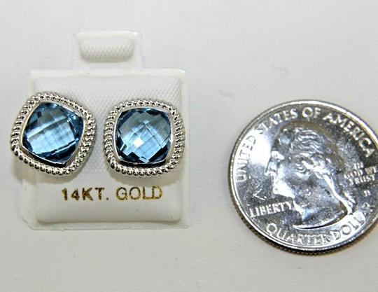 Other Cushion Cut Blue Topaz Square Stud Rope Earrings 14K White Gold 4.00Ct Image 1