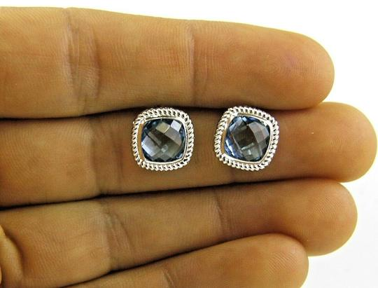 Other Cushion Cut Blue Topaz Square Stud Rope Earrings 14K White Gold 4.00Ct Image 2