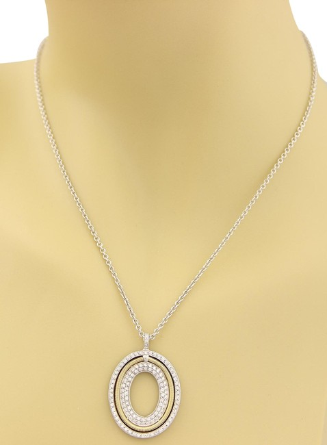 Item - 16165 Diamonds 18k Two Tone Gold Oval Pendant Necklace