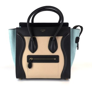 Céline Pebbled Leather Tote in Beige, blue, black