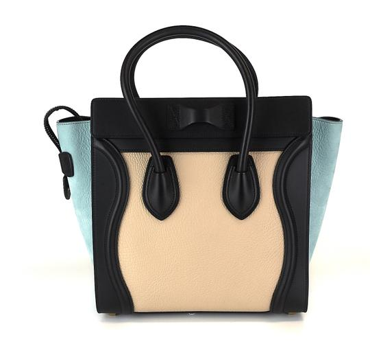 Céline Pebbled Leather Tote in Beige, blue, black Image 1