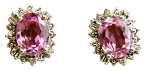 Other Oval Cut Pink Topaz & Diamond Halo Stud Earrings 14K White Gold 3.00Ct