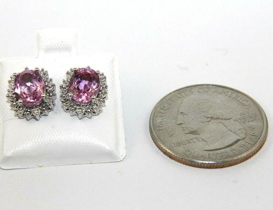Other Oval Cut Pink Topaz & Diamond Halo Stud Earrings 14K White Gold 3.00Ct Image 1