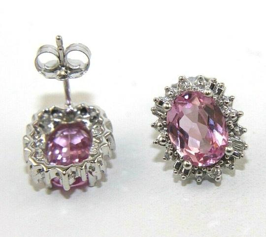 Other Oval Cut Pink Topaz & Diamond Halo Stud Earrings 14K White Gold 3.00Ct Image 2