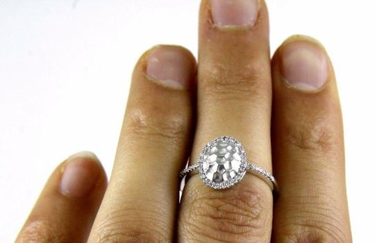 Other Oval Diamond Shell Cluster Lady's Ring 14k White Gold .14Ct Image 1