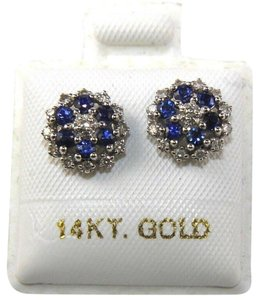 Other Round Blue Sapphire & Diamond Cluster Star Stud Earrings 14K WG 0.43Ct