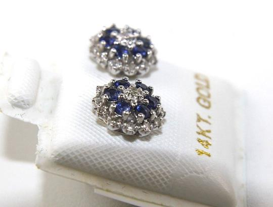 Other Round Blue Sapphire & Diamond Cluster Star Stud Earrings 14K WG 0.43Ct Image 1