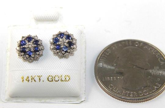 Other Round Blue Sapphire & Diamond Cluster Star Stud Earrings 14K WG 0.43Ct Image 2