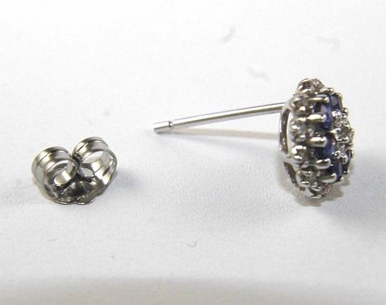 Other Round Blue Sapphire & Diamond Cluster Star Stud Earrings 14K WG 0.43Ct Image 3