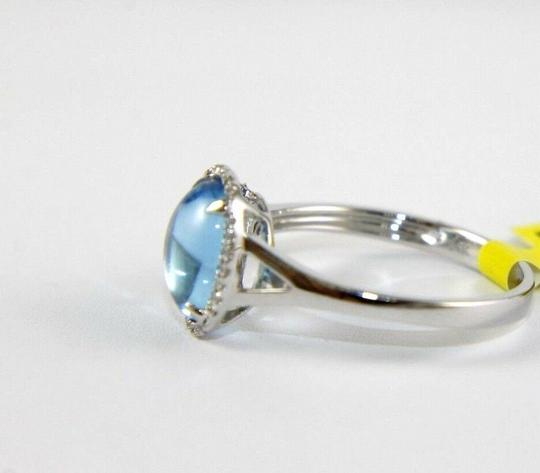 Other Oval Blue Topaz Cabochon Diamond Solitaire Ring 14k White Gold 2.18Ct Image 1
