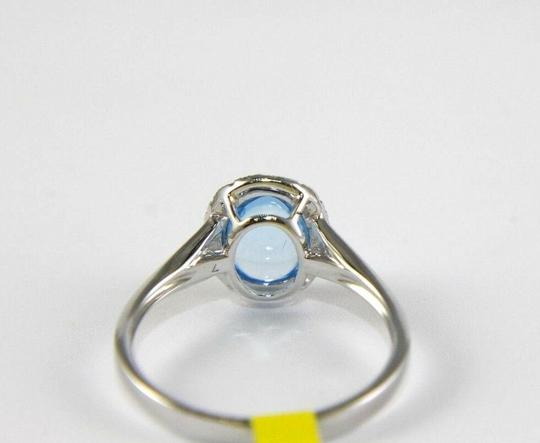 Other Oval Blue Topaz Cabochon Diamond Solitaire Ring 14k White Gold 2.18Ct Image 2