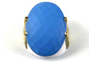 Other Huge Oval Blue Turquoise Agate Solitaire Ring 14k Yellow Gold 10.00Ct