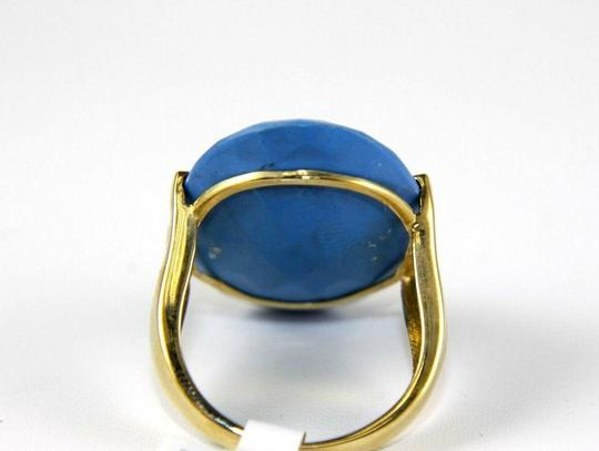 Other Huge Oval Blue Turquoise Agate Solitaire Ring 14k Yellow Gold 10.00Ct Image 2