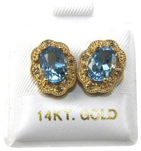 Other Oval Blue Topaz & Diamond Halo Stud Earrings 14K Yellow Gold 1.84Ct