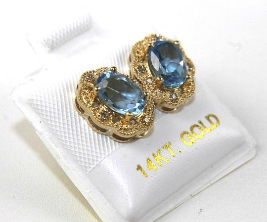 Other Oval Blue Topaz & Diamond Halo Stud Earrings 14K Yellow Gold 1.84Ct Image 1