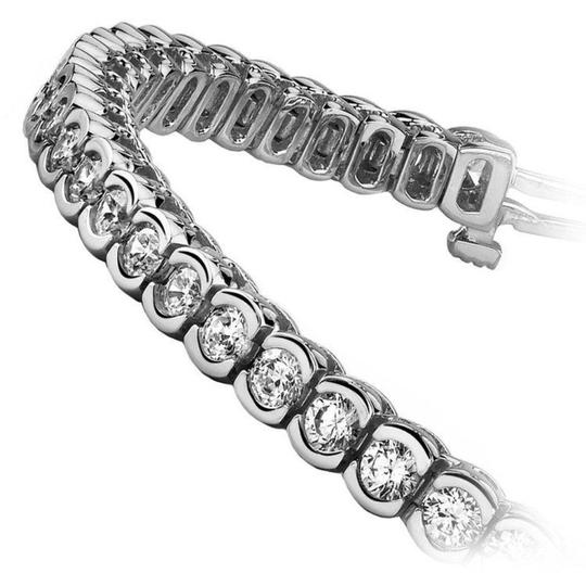 White 7.50 Ct Ladies Round Cut Tennis Bracelet Image 2