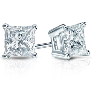 Natural Diamonds of NYC White 0.54 Ct Princess Cut Stud In Screw Back Earrings