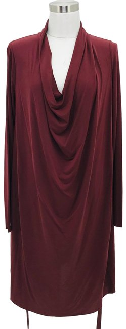 Item - Burgundy Red N446 Designer Small Cowl Neck Mid-length Cocktail Dress Size 4 (S)