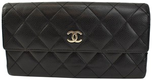 "Chanel Quilted Caviar Leather & ""CC"" Logo, Long Folding (my)"