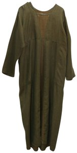 Green and Brown Maxi Dress by FLAX Linen Maxi Long Empire Waist Pullover