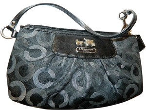 Coach New Evening Wallet Limited Edition Signature Wristlet in Black- White- Grey- Silver